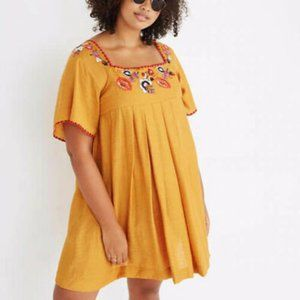 Madewell Yellow Embroidered Shift Dress Size Large